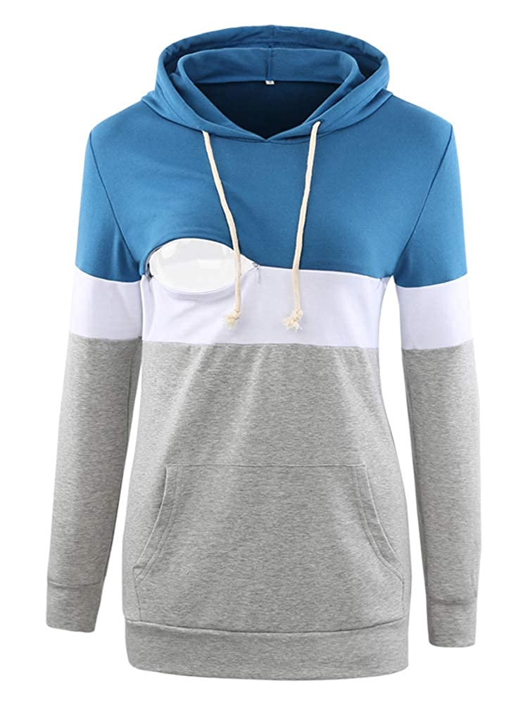 Love2Mi Women's Maternity Nursing Hoodie Long Sleeves Casual Top Breastfeeding Clothes