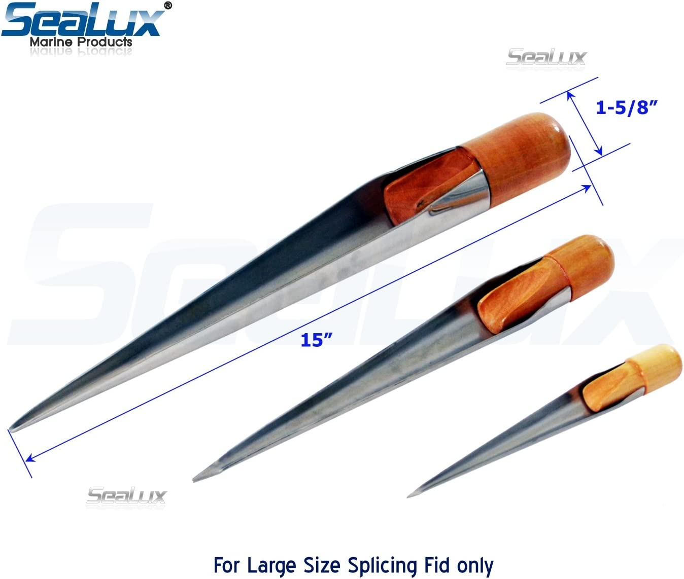 """L SeaLux S.S 1/"""" and up rope Rope Splicing Spike Fids with Wood Handle-for dia"""