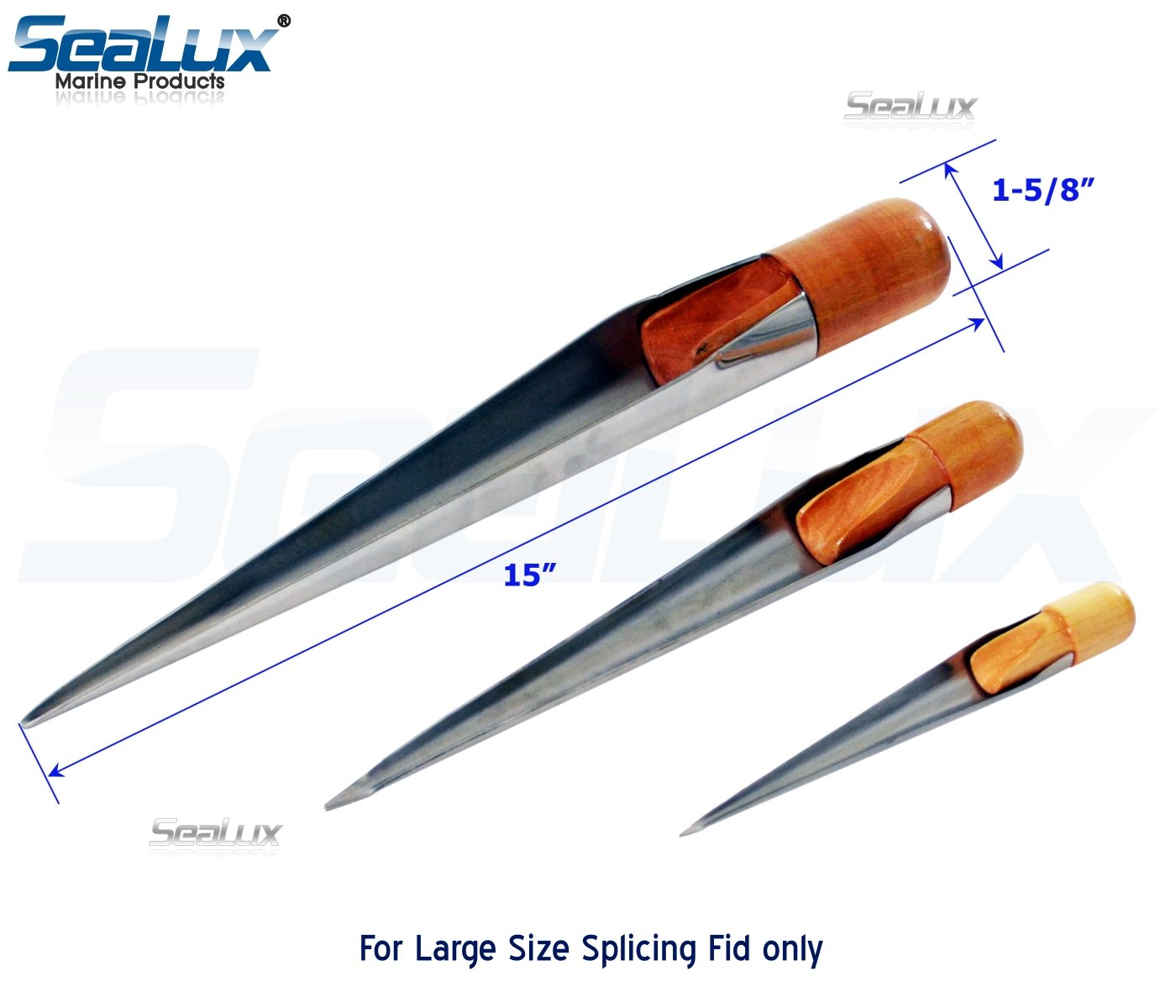 SeaLux Stainless Steel Rope Splicing Spike Fids with Wood Handle-for Dia. 1'' and up Rope (Large Only) by SeaLux