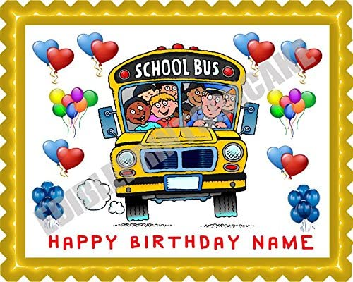 Pleasant Amazon Com School Bus Edible Cake Topper 7 5 X 10 1 4 Personalised Birthday Cards Cominlily Jamesorg