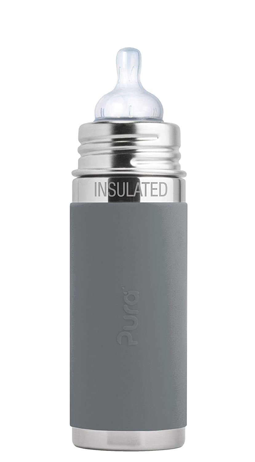 Pura Kiki 9 oz / 260 ml Stainless Steel Insulated Anti-Colic Infant Bottle with Silicone Medium-Flow Nipple & Sleeve (Plastic Free, NonToxic Certified, BPA Free) (Slate)