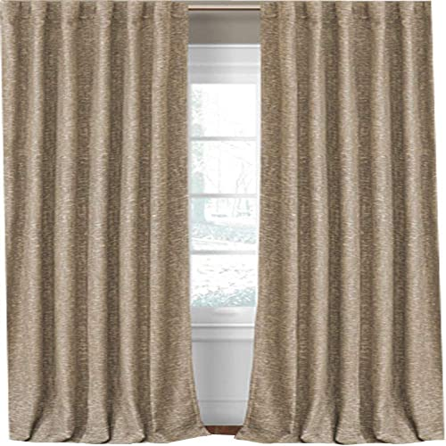 Elrene Home Fashions Colton 3 in 1 Room Darkening Heavy Weight Textured Linen Blend Window Panel 52-Inch by 95-Inch, Taupe