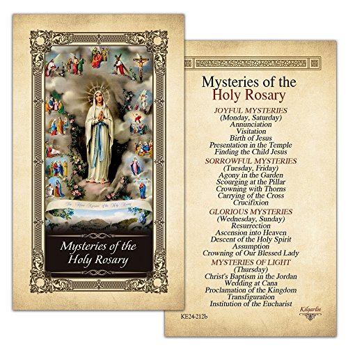 Cards Prayer Rosary (Mysteries of the Holy Rosary Laminated Prayer Card - Pack of 10)