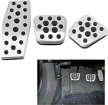 Auto Fußpedale 3 Stück Schaltgetriebe Auto Rutschfeste Kupplung Bremse Gaspedal Fußpedale Edelstahl Lauffläche Auto