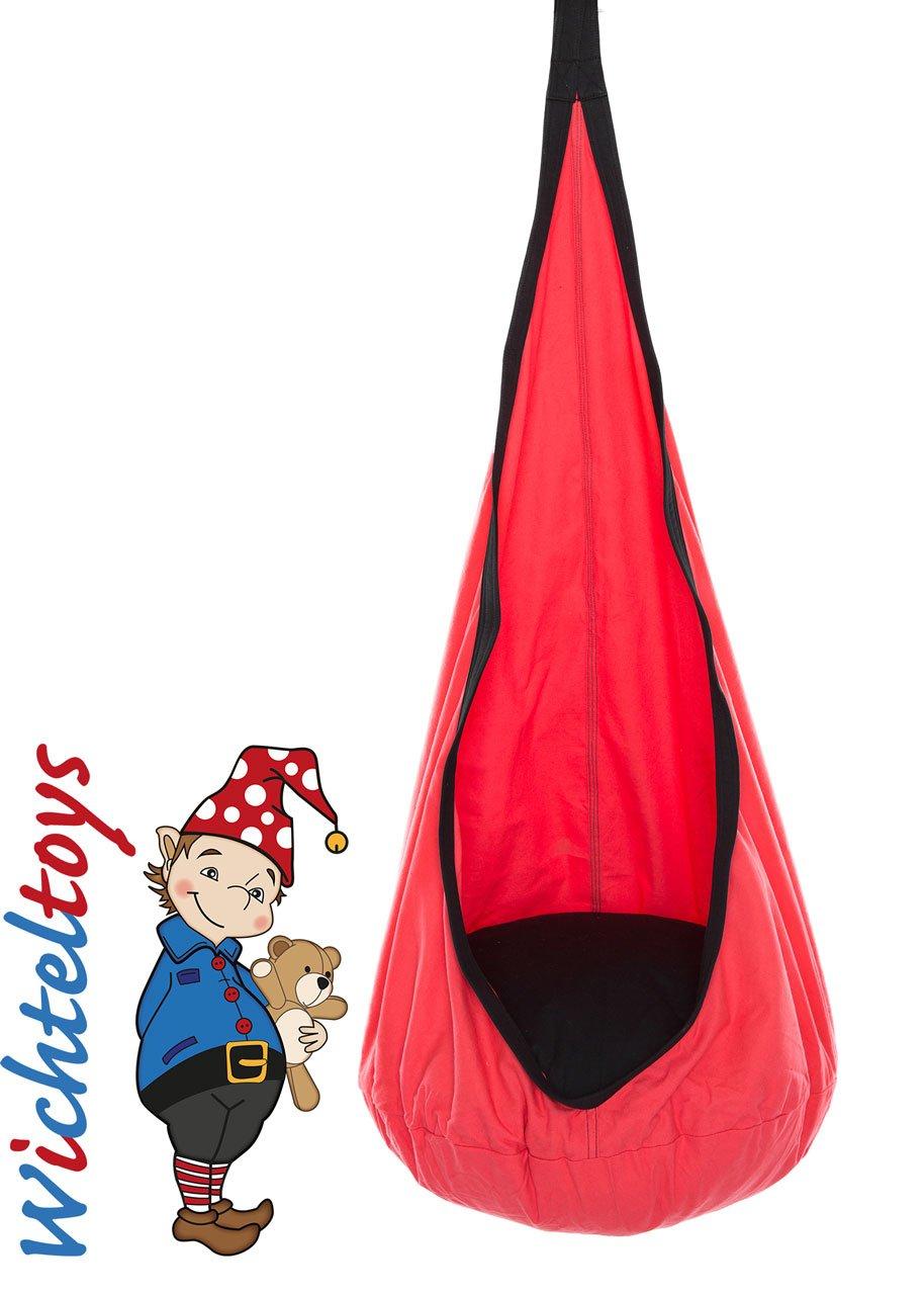 Wichteltoys Kinder Hängehöhle SNUGLY mit Sitzkissen in rot-schwarz, Sicherheitskarabiner