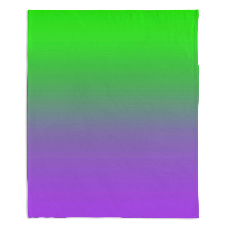 ブランケットウルトラソフトFuzzy 4サイズホーム装飾寝室ソファスローブランケットダイアノウチェデザインズ – ArtistスージーKUNZELMAN – Ombreパープルグリーン Medium 60