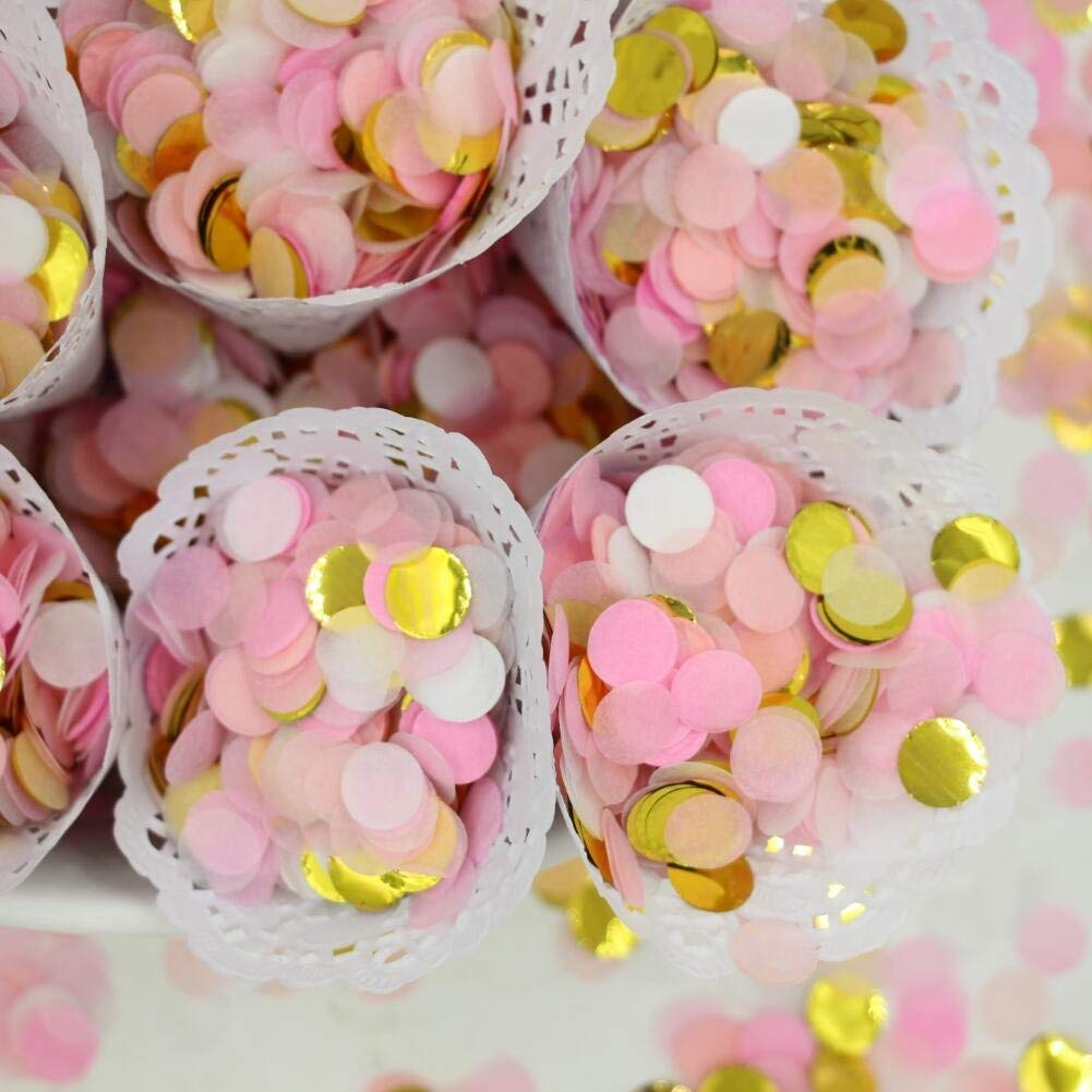 Small Circle Confetti for Party Decor 10mm Pack of 20 Grams Pink Gold