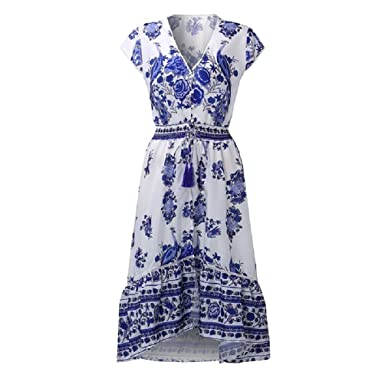 Women Dress Bohemian Vintage Print Maxi Long Dresses Sexy Casual Deep V Neck Short Sleeve Tassel
