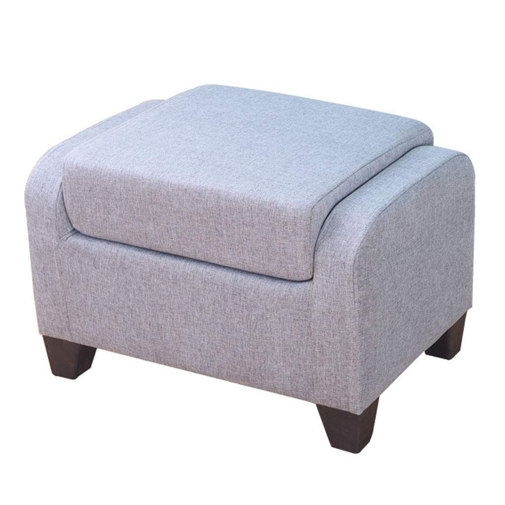Foldable Storage Ottoman Change Shoe Foot Stool Comfortable Seat with Wooden Feet and Lid, Soft Padding by SONGTING Ottomans