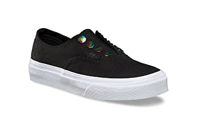 b8971a16d62 Vans Girl s Authentic Gore (Rainbow Eyelets) Black Skateboarding Shoes (11  M US Little