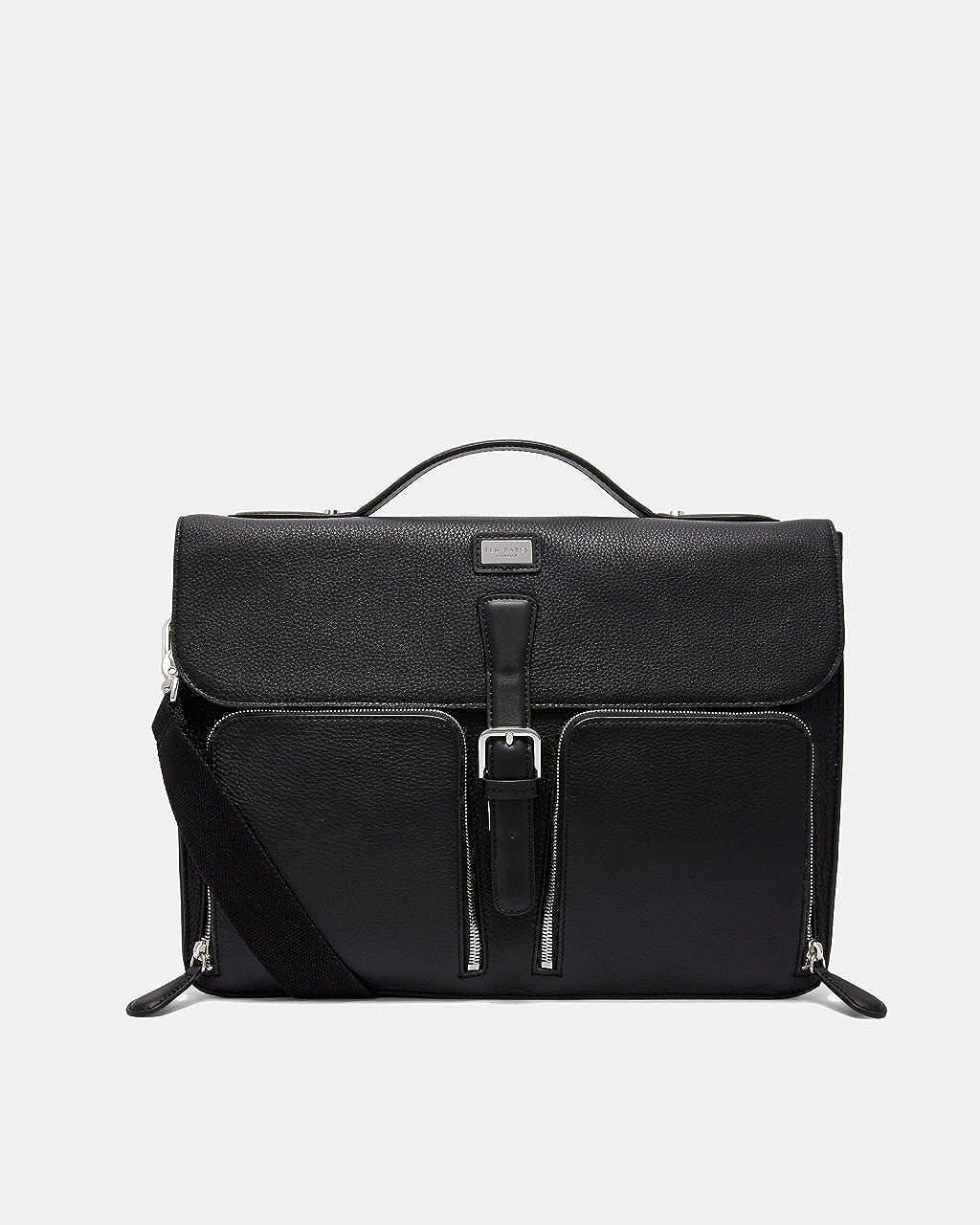 (テッドベーカー) TED BAKER LONDON Men`s Munch Leather satchel Bag メンズムンクレザーバッグ(並行輸入品) One Size ブラック B07BDMMFYR