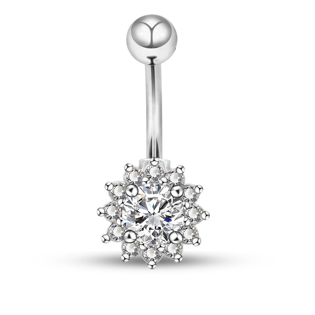 OUFER 14G Surgical Steel Belly Button Rings Clear Flower Cubic Zirconia Navel Rings