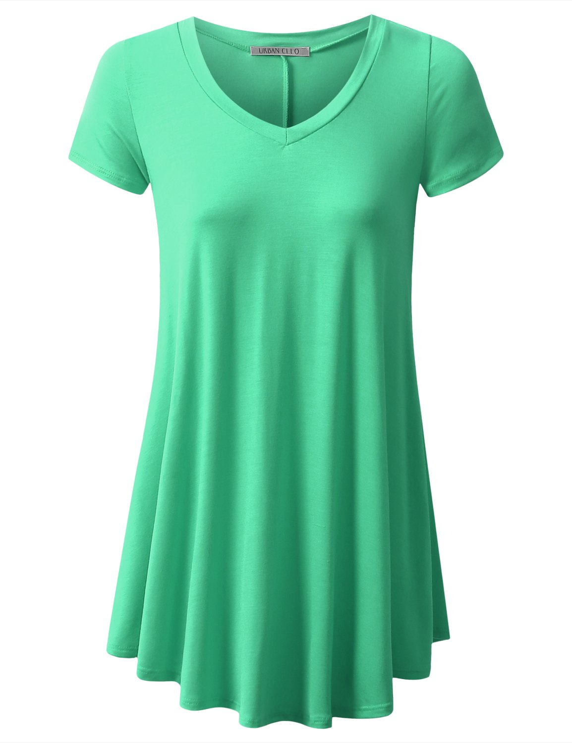 URBANCLEO Womens V-Neck Elong Tunic Top Mini T-Shirt Dress Mint Medium