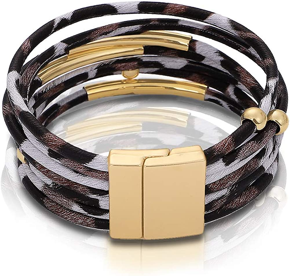 Hellodr Leopard Leather Bangle Bracelets for Women Love and Friends Idea Gift for Mom Shining Gold Plated Magnetic Tube Bar Clasp Friendship Charm Layered Bracelet Jewelry
