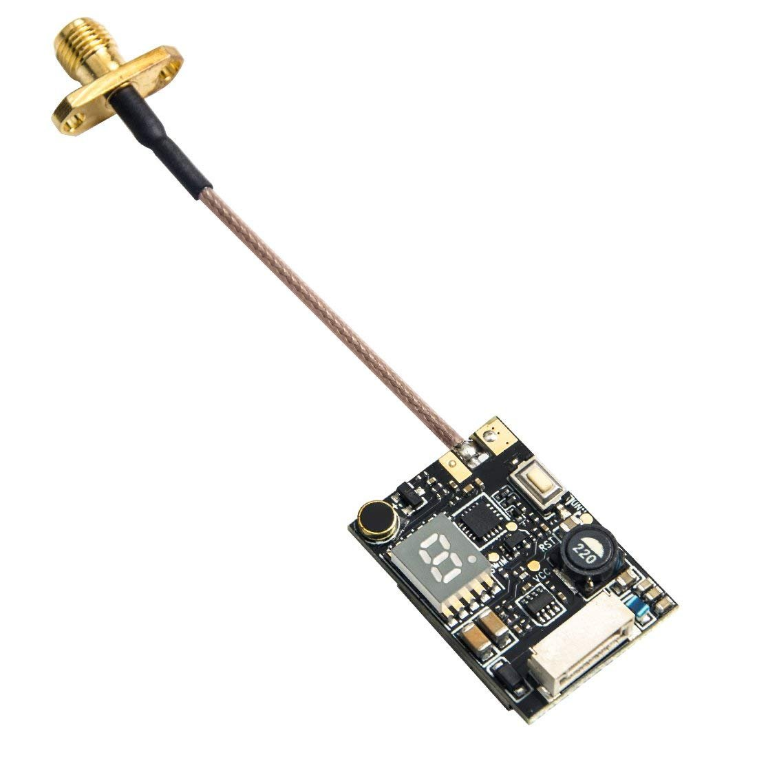 Wolfwhoop Q1-Pro 0.01/25/200/500/800mW Switchable 5.8GHz 37CH FPV Transmitter with Pigtail Antenna and FC Uart Support OSD Configuring via Betaflight Flight Controller by Wolfwhoop