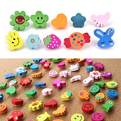 LONG7INES 50 Pcs 3D Cute Decorative Colored Pushpins Thumbtacks for Cork Board, Photo, Map Thumbtacks Office Supplies (Animals)