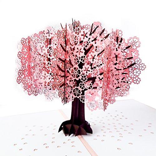 miigate Cherry Blossom Pop Up Tarjetas de felicitación/3d tarjeta de cerezo japonés para todas las ocasiones/tarjetas de...