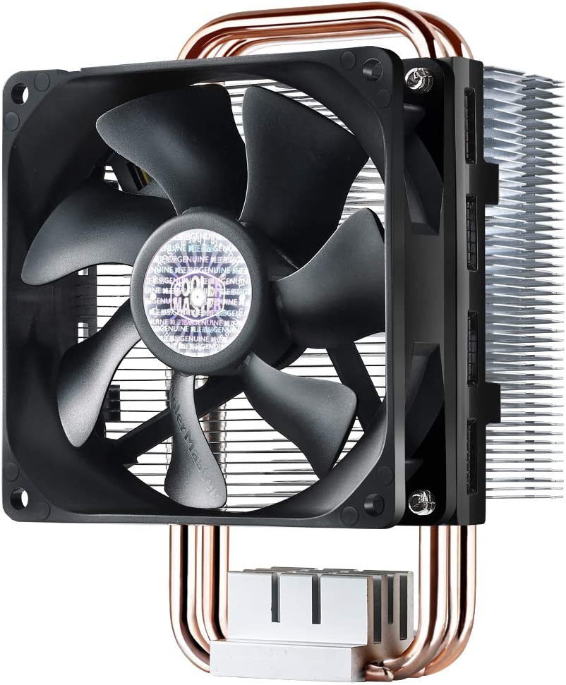 Cooler Master Hyper T2 Compact CPU Cooler w/Dual Looped, Continuous Direct Contact Heatpipes, 92mm PWM Fan, Aluminum Fins, Intel LGA1151, AMD AM4/Ryzen