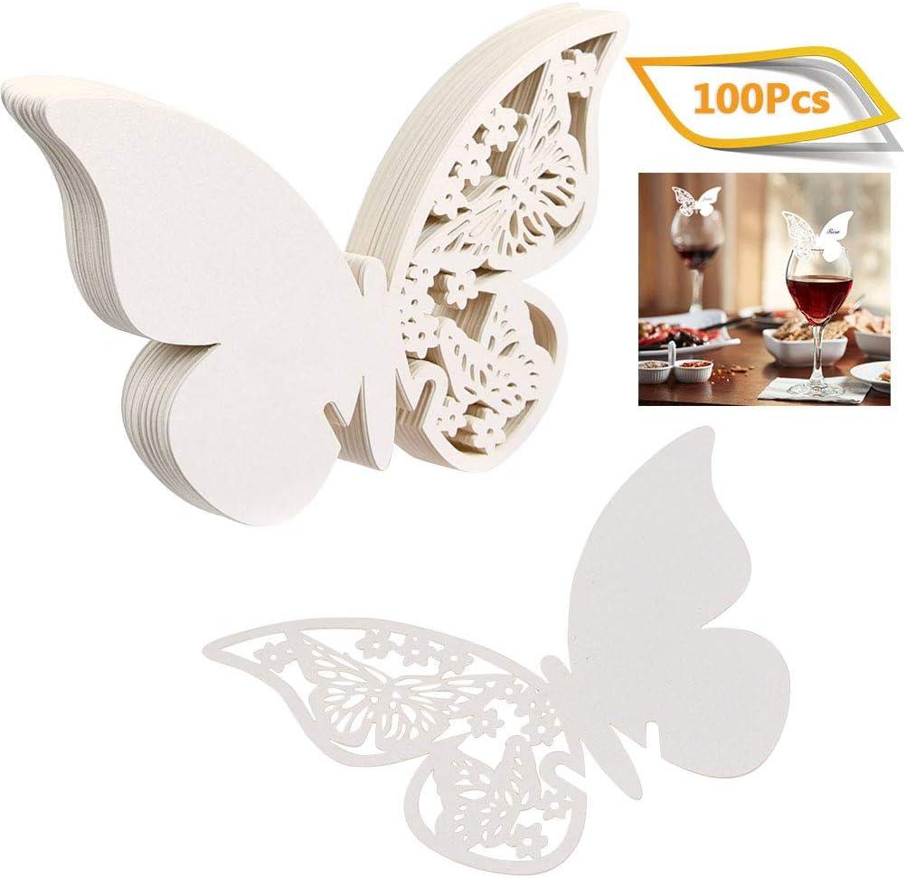 WOWOSS 100 St/ück Schimmer Wei/ß Laser Cut Schmetterling Tischkarten Namenskarten Glasanh/änger Weinglas Hochzeitsfeier Champagnerglas Deko Gastgeschenk Glas Platzkarten Hochzeit Geburtstage Taufe Party
