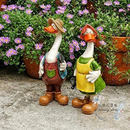 庭の装飾のカップルのアヒルの置物防水庭の庭の庭の芝生の装飾工芸品のギフト-10 * 9 * 27cm A