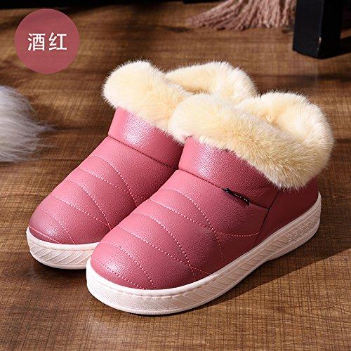DogHaccd pantofole,Pelle pu Impermeabili di cotone invernale pantofole pacchetto con le coppie home soggiorno anti-slittamento spesso caldo inverno pantofole uomini e donne,Il vino è di colore rosso36