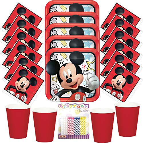 Disney Mickey On The Go Party Plates Napkins and Cups (Serves-16) with Birthday Candles - Mickey Mouse Party Supplies Pack (Bundle for 16) -