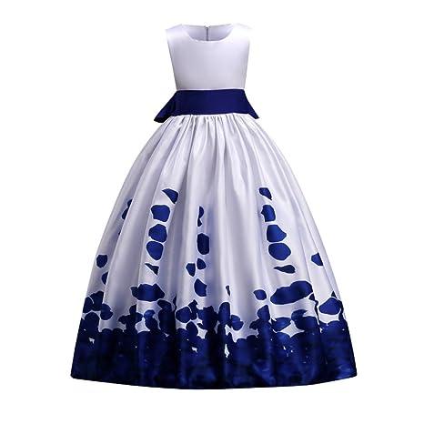 Vestido de fiesta de boda de las muchachas Pétalos de flores Impreso Bautizo Bautizo Vestido de