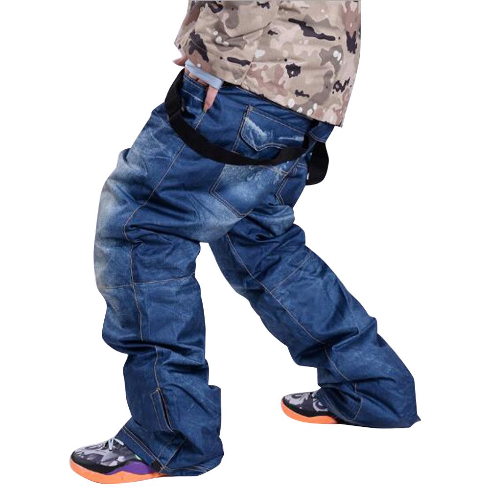 Skis Trousers Unique Denim Suspenders Skiing pants Waterproof Breathable Warm Skiing and Snowboarding Pants Houtby