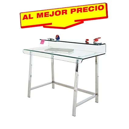 MESA DE OFICINA Y ESTUDIO ESCRITORIO CRISTAL CURVADO Y ACERO ...