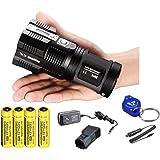 2015 Ver. Nitecore Tiny Monster TM26 4000 Lumen Search Light Ultimate Bundle: 4x Nitecore NL189 3400 mAH 18650 Batteries, Wall and Car Charger, a LumenTac(TM) Keychain Light