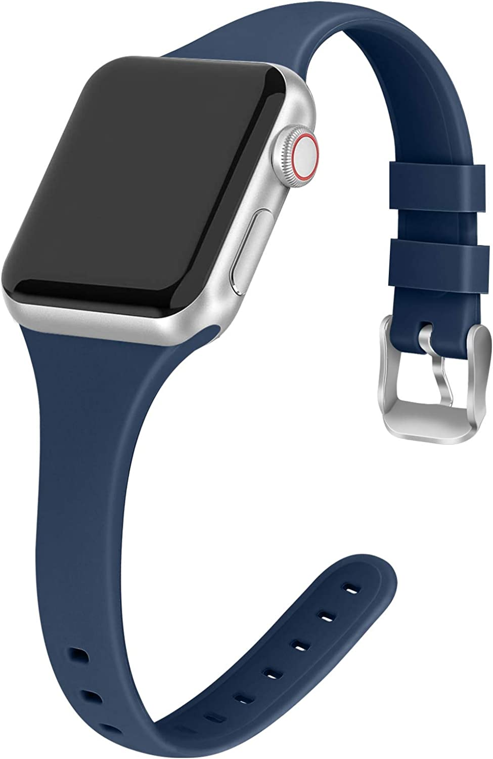 Vinyl Etchings Sport Band Compatible with Apple Watch Bands 38mm 40mm 42mm 44mm Slim Thin Skinny Narrow Soft Silicone Replacement Strap Wristband for iWatch SE Series 6/5/4/3/2/1 Women&Men