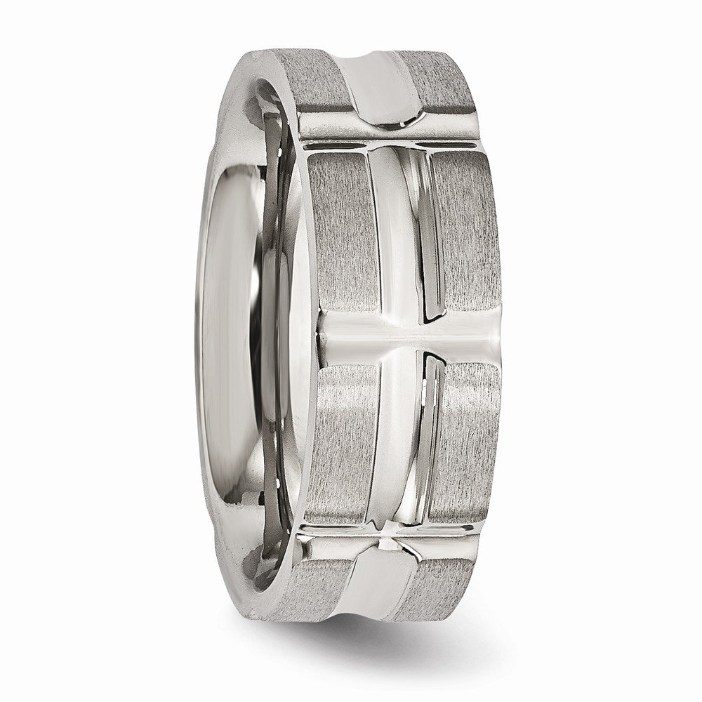 Bridal Wedding Bands Decorative Bands Stainless Steel Brushed and Polished Grooved Ring Size 12