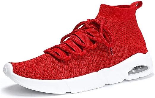 LMHXDXY Hombres Zapatos Rojos Zapatillas de Deporte para Volar liviano Deporte Zapatilla de Deporte Estabilidad Gratis Correr Alto Ayuda Funcionamiento, 43: Amazon.es: Deportes y aire libre