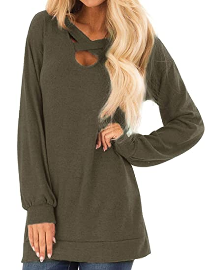 d0ecb6c46ae Long Sleeve Green Tunic Tops for Women Loose Fit Blouse V-Neck T-Shirt