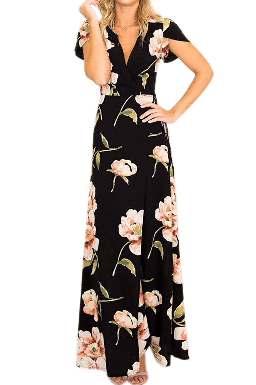 Zamtapary Womens Maxi Dress Summer Casual V Neck Wrap Floral Boho Long Beach Dresses CAVI1393