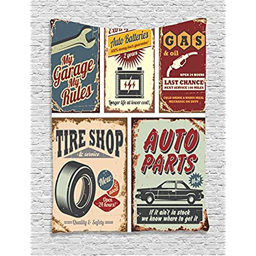 Ambesonne 1950s Decor Collection, Vintage Car Metal Signs Automobile  Advertising Repair Vehicle Garage Classics Servicing Image, Bedroom Living  Room Dorm ...