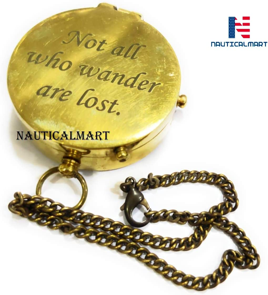 """Gift Compass NauticalMart Brass Compass Engraved with /""""So You Can Always Find Your Way Back Home/"""""""