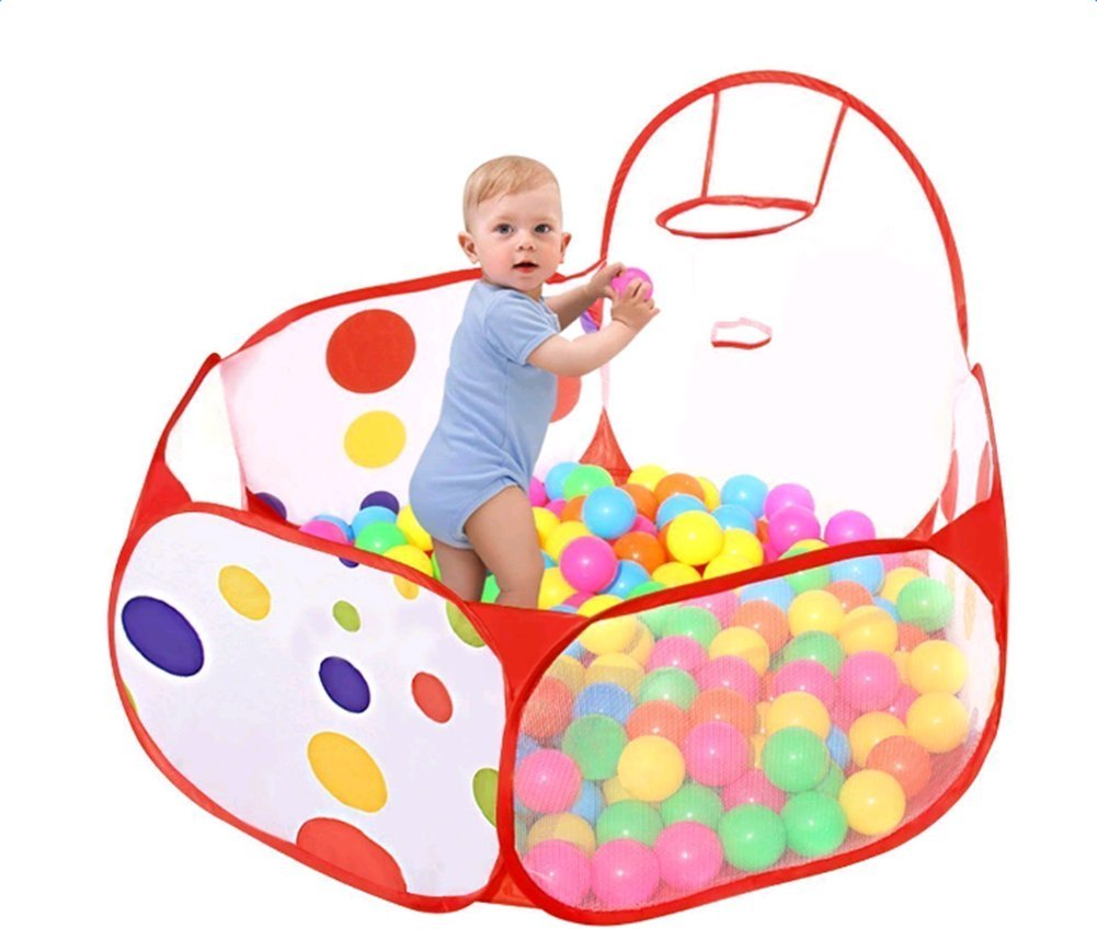 Wicemoon Newborn Children Baby Ocean Ball Pit Pool Tent Indoor Foldable with Basketball Hoop Game Pool 0-3 years old(Without Balls) (S)