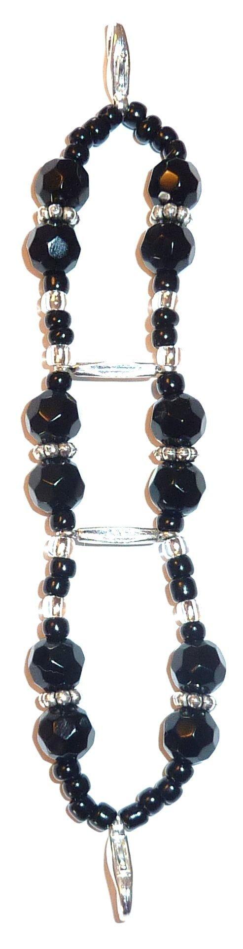Double Band Stretch Black women's Medical Alert ID Interchangeable Replacement Bracelet (Black)