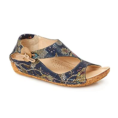 b4afaa1dee9a Pavers Leather Sandal with Sweeping Strap   Button 133 906 - Navy Multi Size  ...