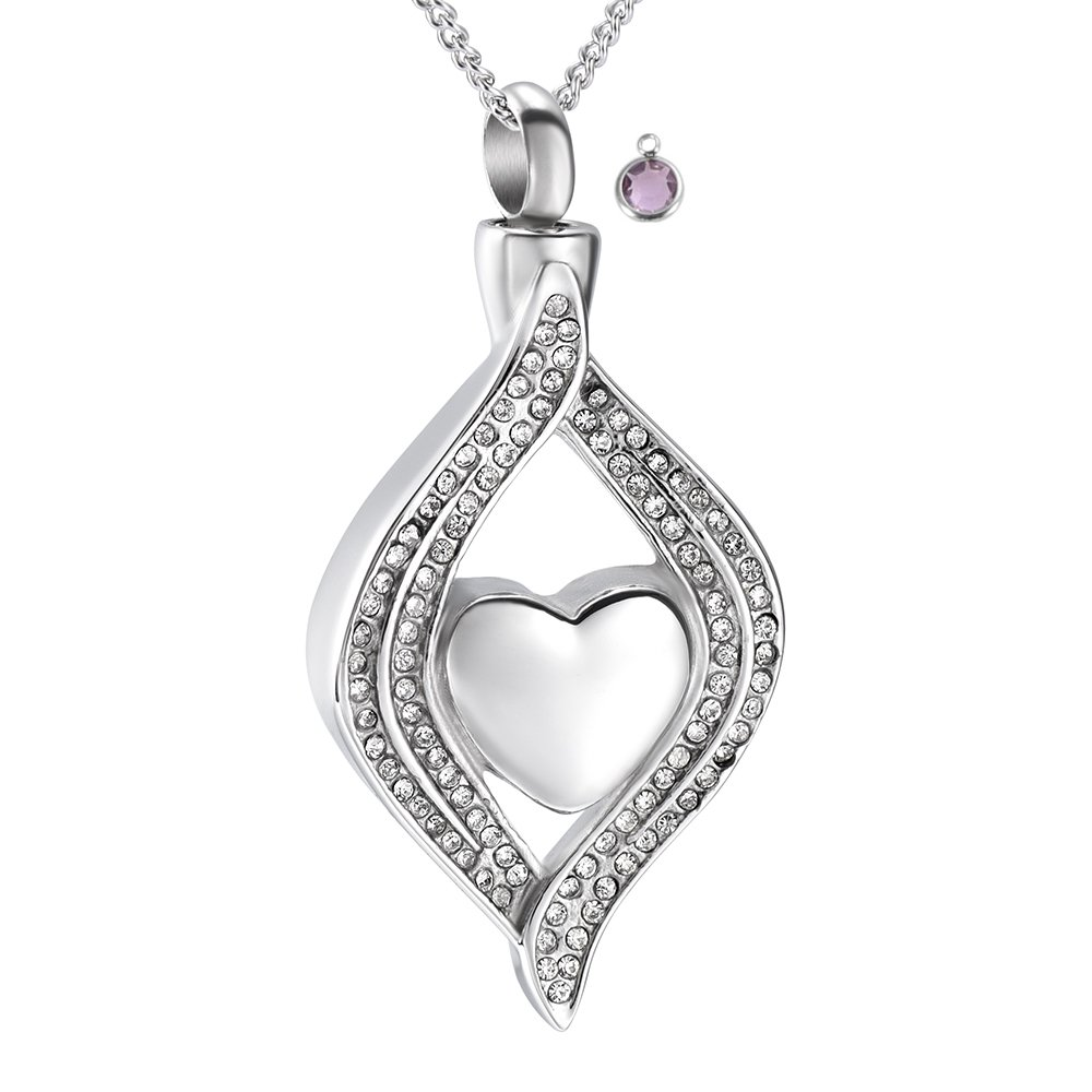 Crystal Inlay Heart Eye Cremation Urn Necklace Ashes Keepsake Pendant Memorial Jewelry+Fill Kit DIYjewelry Inc CY-8111