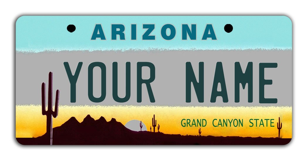 BleuReign Personalize Your Own Arizona State Bicycle Bike Stroller Children's Toy Car 3''x6'' License Plate Tag