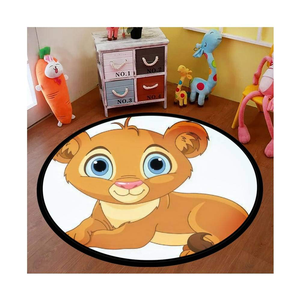 Kids Round Area Rugs Baby Crawling Mats Game Blanket Baby Play Mat Rugs Image of Resting Little Lion cub Floor Carpet Indoor Outdoor for Playroom Nursery Bedroom by COOKAE