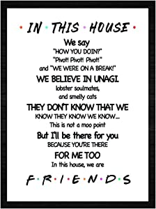 """LaurBella for Friends Quotes TV Poster in This House Sign Family Rules Friends TV Show Poster Funny Quotes Bedroom Poster 8"""" x 10"""" Unframed"""