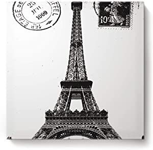 Square Canvas Wall Art Oil Painting for Bedroom Living Room Home Decor,Vintage The Stamp of Paris Eiffel Tower Black and White Office Artworks,Stretched by Wooden Frame,Ready to Hang,12 x 12 Inch