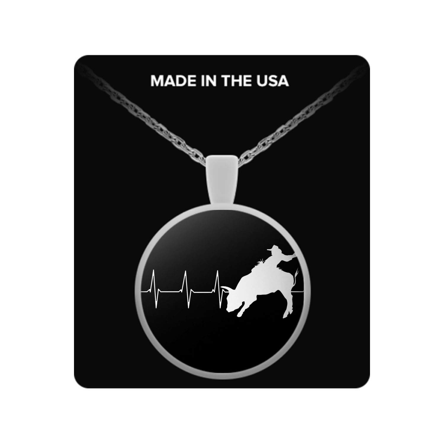 Bull Rider Heartbeat Necklace Cowboy Riding Bull Army Style Men Military Pendant Necklace Dominix Bull Riding Pendant Necklace