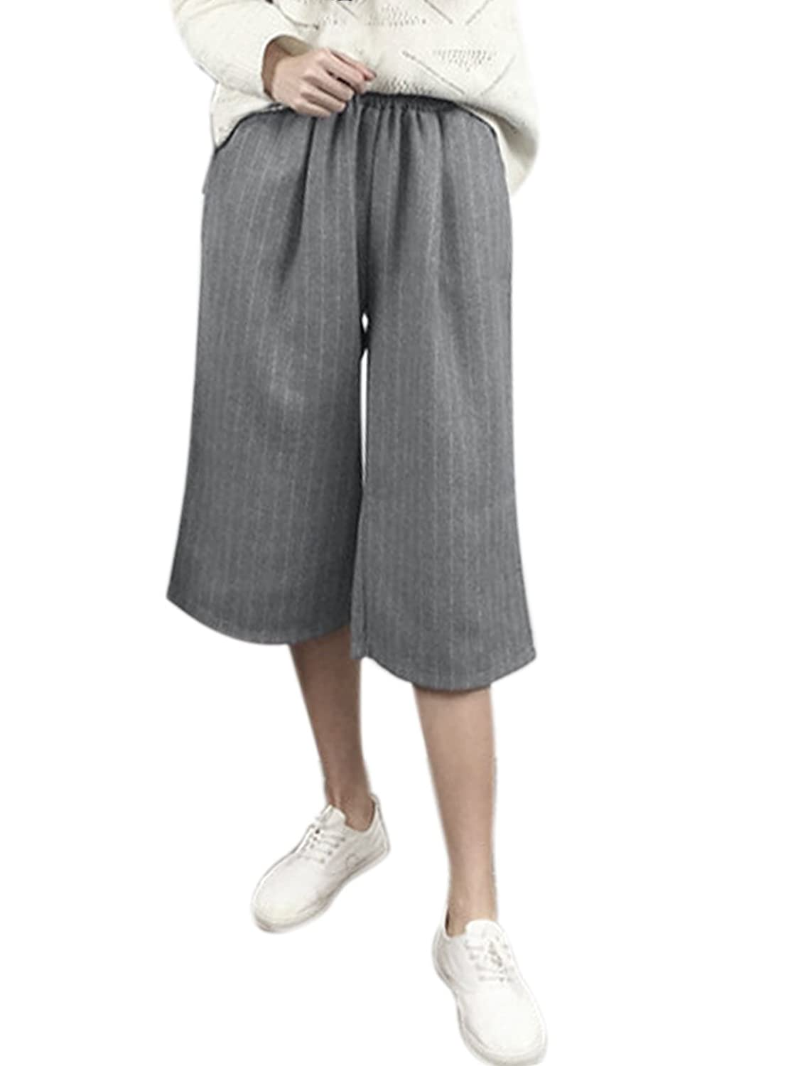 uxcell Women Slant Pockets High Waist Stripes Worsted Capris Culottes