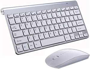 Wireless Keyboard and Mouse Portable Mini Keyboard Mouse Combo Set 2.4GHz Compact Computer Keyboard for Windows Mac Laptop Notebook PC Desktop Smart TV PS4 (White)