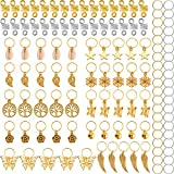 TecUnite 120 Pieces Hair Braid Rings Metal Hair Cuffs Copper Hair Dreadlocks and Pendant Charms Hair Clip Headband Accessories, Gold and Silver
