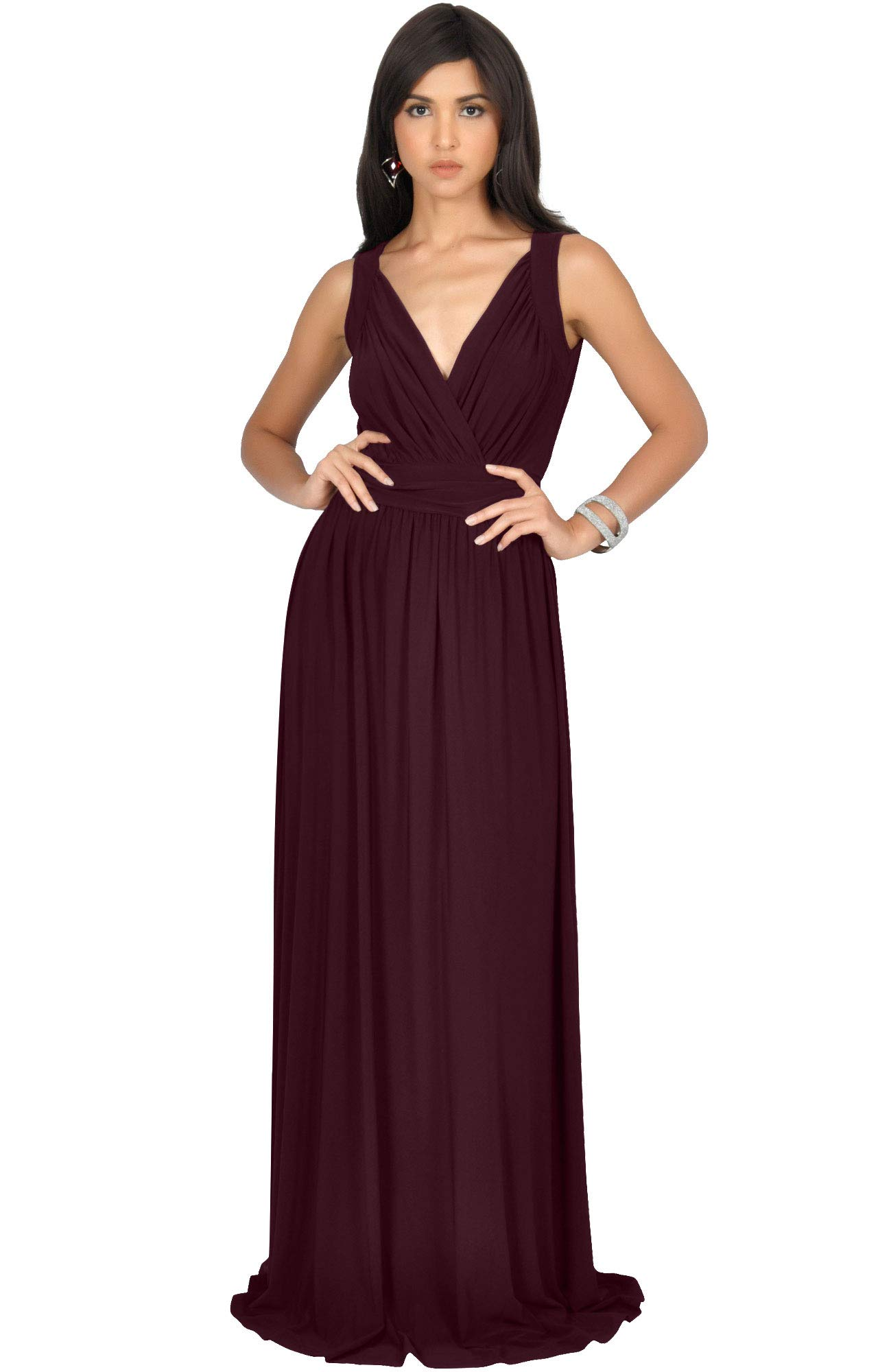 c67f1889ac7 KOH KOH Petite Womens Long Sleeveless Flowy Bridesmaids Cocktail ...